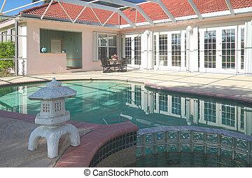 woongebied, pool, zwemmen