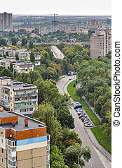 woongebied, ukraine., straat, kiev, district