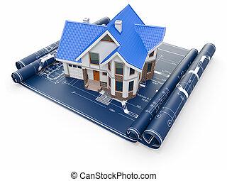 woongebied, woning, op, architect, blueprints., huisvesting, project.