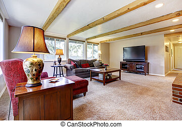 woonkamer, balken, hout, interieur, openhaard, baksteen, red.