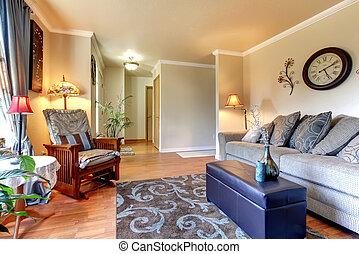 woonkamer, classieke, eenvoudig, elegant, interieur, design.