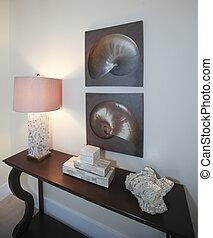 woonkamer, decor., donker, bruine , hout