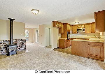 woonkamer, gebied, woning, interior., lege, keuken