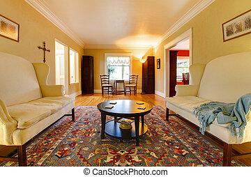 woonkamer, gouden, twee, banken, luxe, witte , cozy