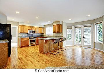 woonkamer, groot, doors., keuken, open, lege, balkon