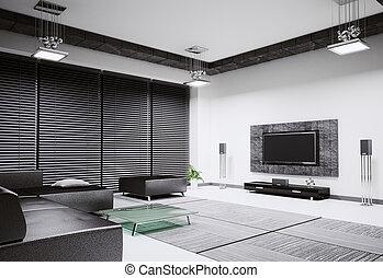 woonkamer, interieur, 3d, render