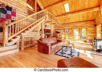 woonkamer, leder, sofa., luxe, cabine, logboek