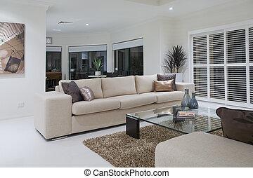 woonkamer, luxueus, het dineren, achtergrond, tafel