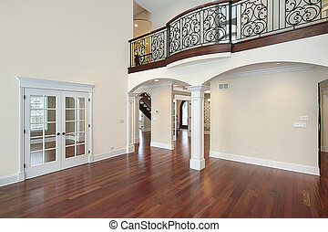 woonkamer, met, balkon