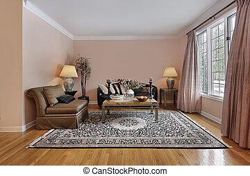 woonkamer, met, hout, vloeren