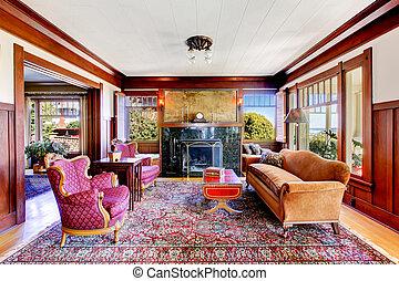 Antieke , strip, kamer, bruine , gele muren, interieur ...