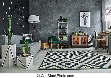 woonkamer, met, planten