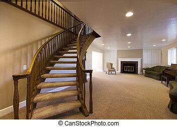 woonkamer, met, trap, het uitgaan