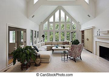 woonkamer, met, vloer, om te, plafond, vensters