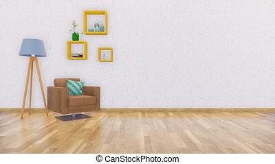 woonkamer, minimalist, leunstoel, interieur, 3d