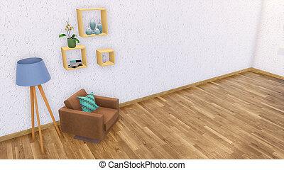 woonkamer, minimalist, leunstoel, interieur, lege