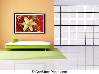 woonkamer, minimalist, sinaasappel, wit rood