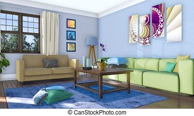woonkamer, moderne, banken, helder, interieur, 3d