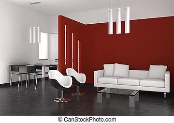 woonkamer, moderne, het dineren, interieur, keuken