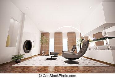 woonkamer, render, moderne, interieur, openhaard, 3d