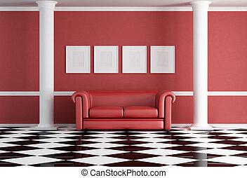 woonkamer, rood, classieke