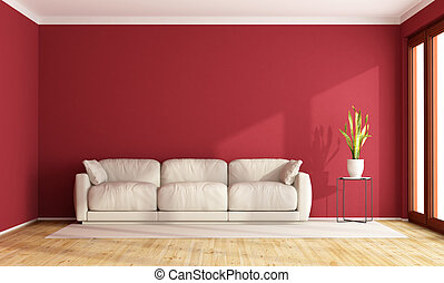 woonkamer, rood