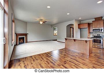 woonkamer, room., groot, samenhangend, interieur, lege, keuken