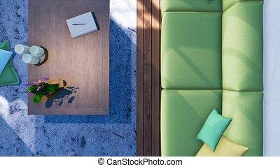 woonkamer, sofa, bovenzijde, moderne, inwendig overzicht, 3d