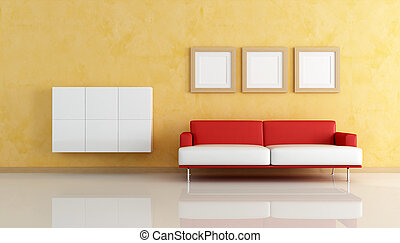 woonkamer, sofa, sinaasappel, wit rood