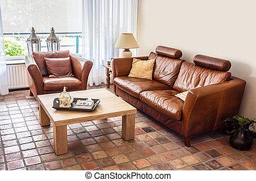 woonkamer, tijdgenoot, warme, interieur, ongedwongen