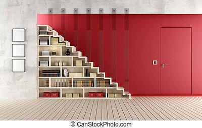 woonkamer, trap, houten, boekenkast, rood