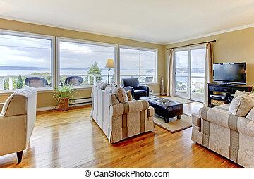 woonkamer, vensters, water, groot, inwendig overzicht