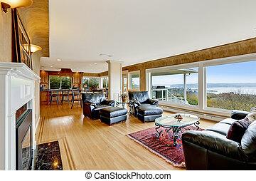 woonkamer, vloer, nicely, gemeubileerd, loofhout