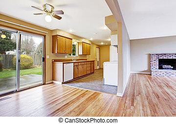 woonkamer, woning, interior., lege, keuken