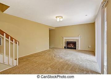 woonkamer, woning, interior., openhaard, lege