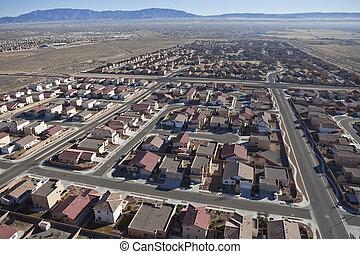 woonwijk, voorstedelijk, luchtopnames, woestijn