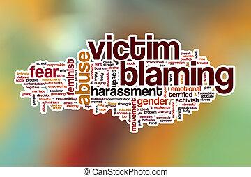 woord, achtergrond, abstract, het beschuldigen, slachtoffer,...