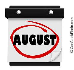 woord, augustus, schema, muur, maand, kalender, veranderen