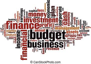 woord, begroting, wolk