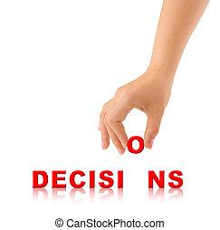 woord, besluiten, hand