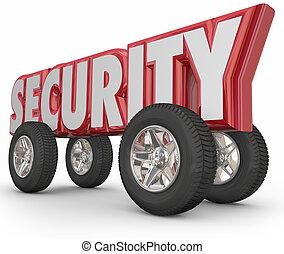 woord, bevestigen, geleider, auto, brandkast, misdaad, tires, rood, veiligheid, wielen, preventie, 3d