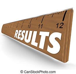 woord, bevindingen, meetlatje, resultaten, opmeting, opvoering, resultaat