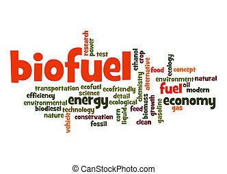 woord, biofuel, wolk