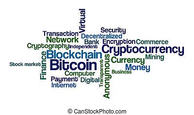 woord, -, bitcoin, achtergrond, witte wolk