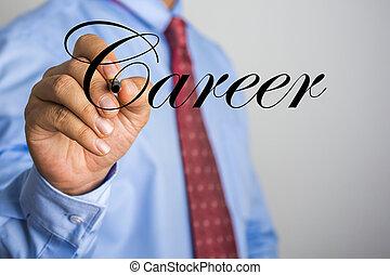 woord, carrière, scherm, feitelijk, schrijvende , zakenman