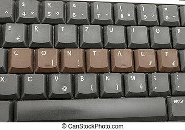 woord, contact, op, computer toetsenbord