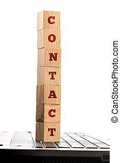 woord, contact, op, houten blokken, op, een, computer