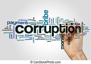 woord, corruptie, wolk