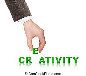 woord, creativiteit, hand