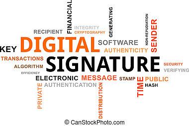 woord, digitale , -, wolk, handtekening